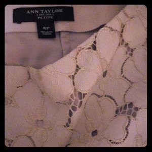 Ann Taylor cream floral lace skirt